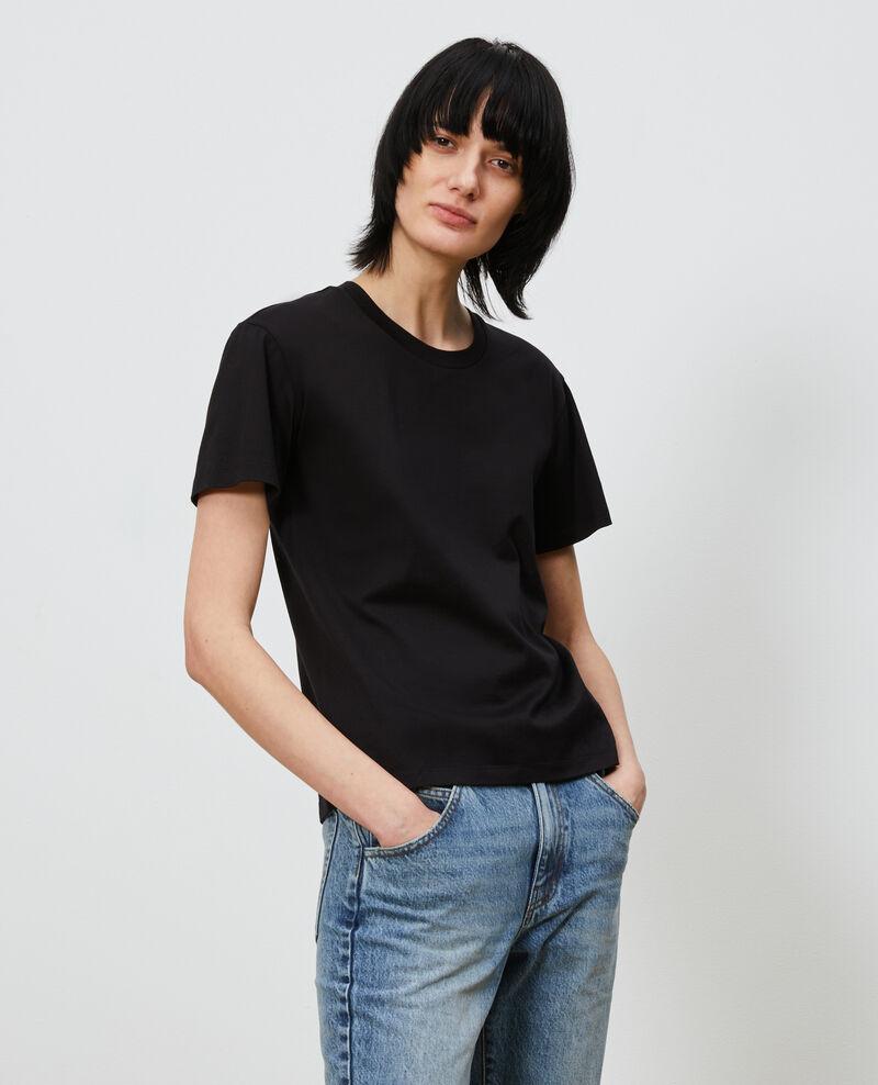 T-Shirt aus Baumwolle mit Rundhalsausschnitt Black beauty Lirous