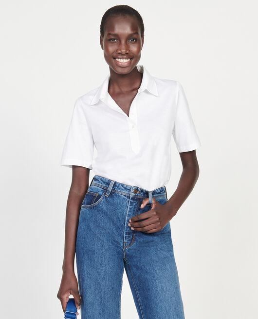Polo-Shirt aus ägyptischer Baumwolle OPTICAL WHITE