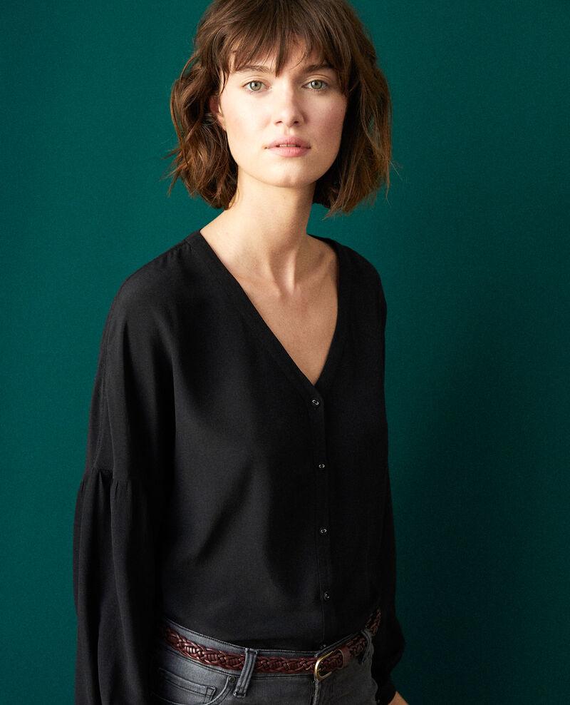 Bluse mit V-Ausschnitt Noir Gaucelin