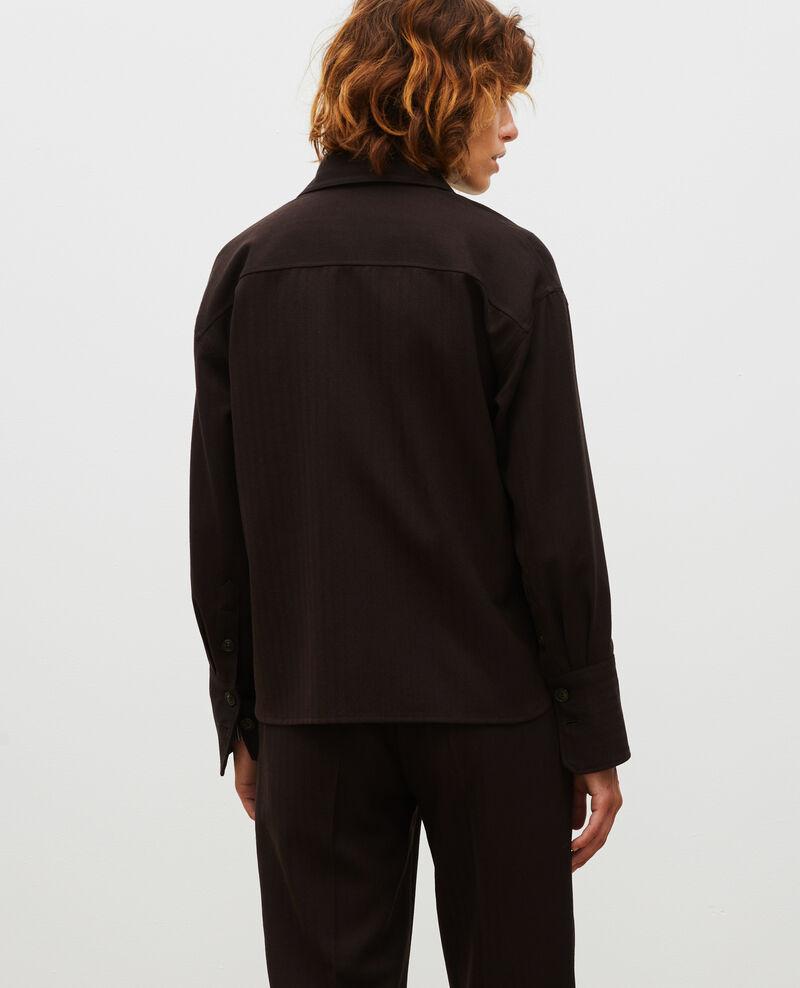 Kurzes Überhemd aus Wolle mit Fischgrätmuster  Coffee bean Meudon