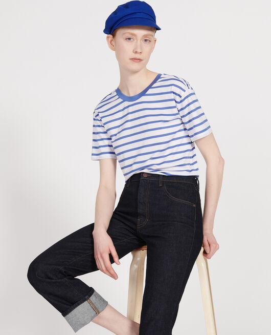 T-Shirt aus Baumwolle STRIPES OPTICAL WHITE AMPARO BLUE