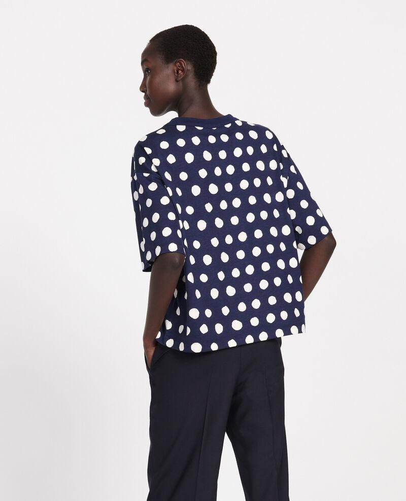 Gepunktetes Boxy T-Shirt aus Baumwolle Dots maritime blue Lenoyer