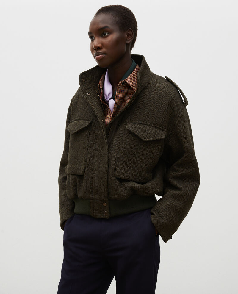 Bomberjacke aus Woll-Tweed mit Fischgrätmuster Military green Maucora