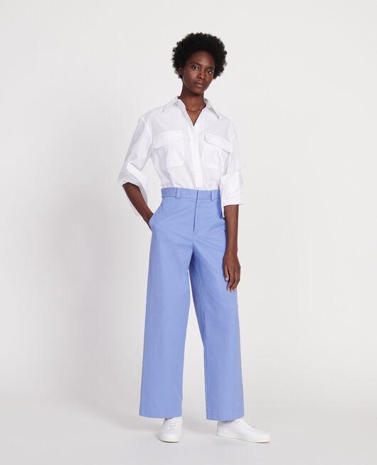 Bluse aus Baumwoll-Popelin OPTICAL WHITE