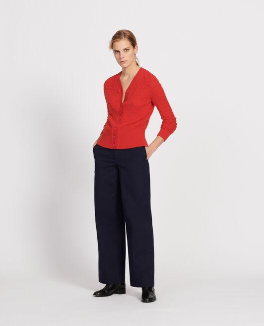 Cardigan mit V-Ausschnitt, 100 % Kaschmir  FIERY RED