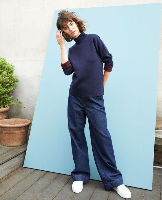 Doppelseitiger Pullover aus Merinowolle Blau