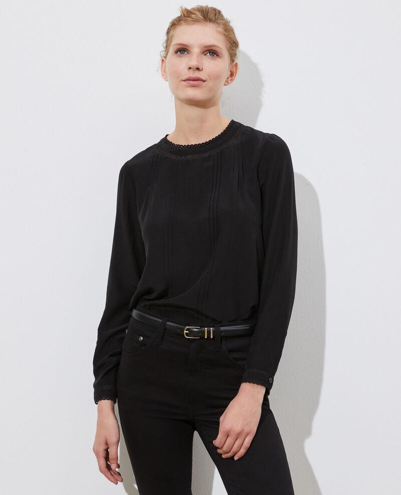 Fließende Bluse aus Seide und Spitze Black beauty Nargut
