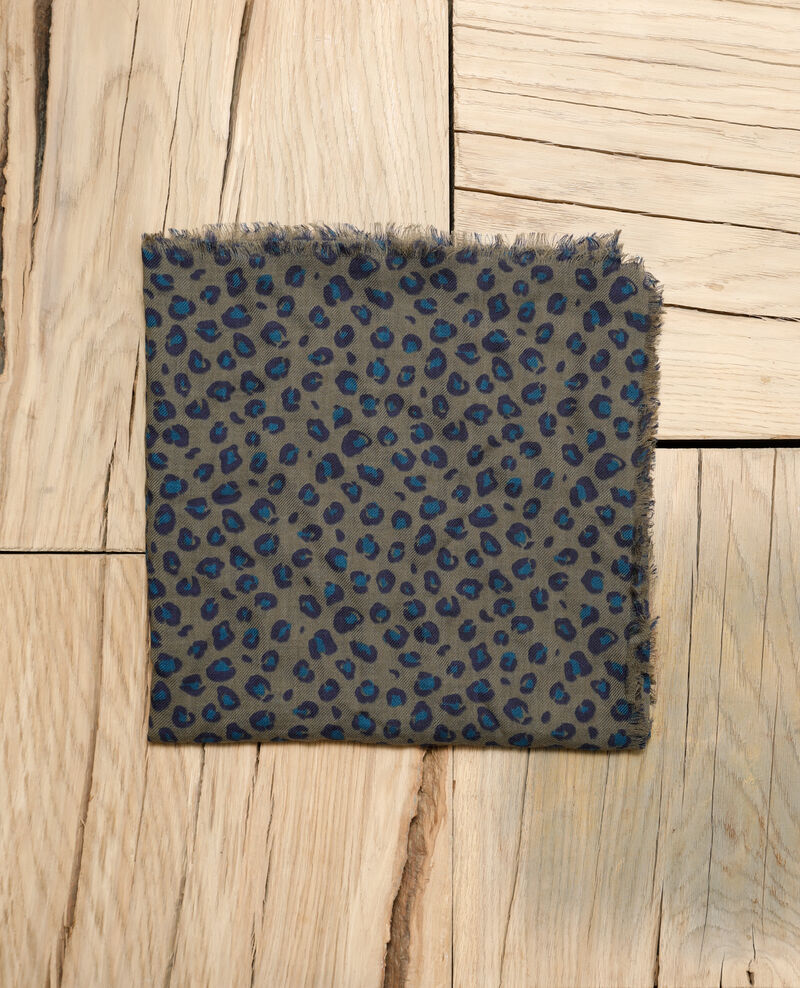 Gemustertes Tuch aus Wolle Blue leopard olive night Grae