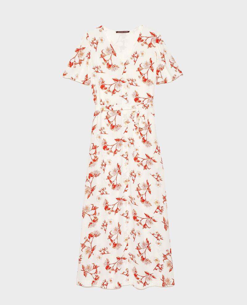 Langes Kleid aus Viskose-Krepp Herbier gardenia ketchup Lavish