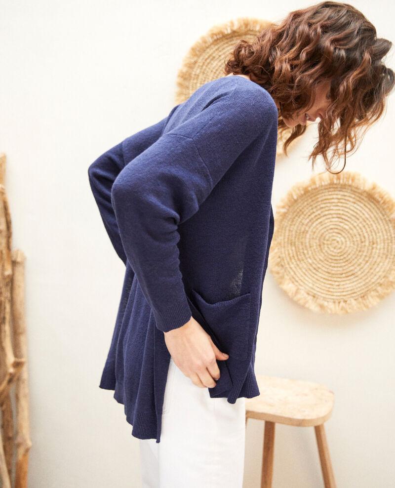 Gilet femme oversize en lin couleur Bleu - Ilubi | Comptoir des ...