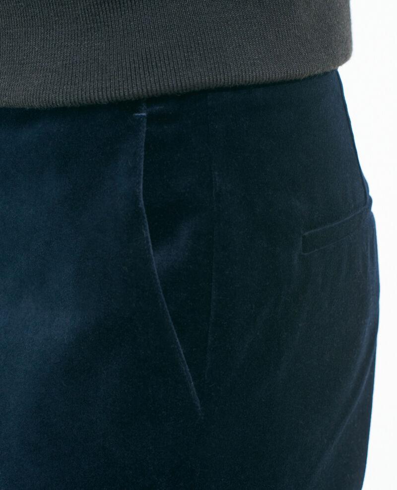 Hose MARGUERITE, 7/8-Länge aus Baumwollsamt Navy deep Poko