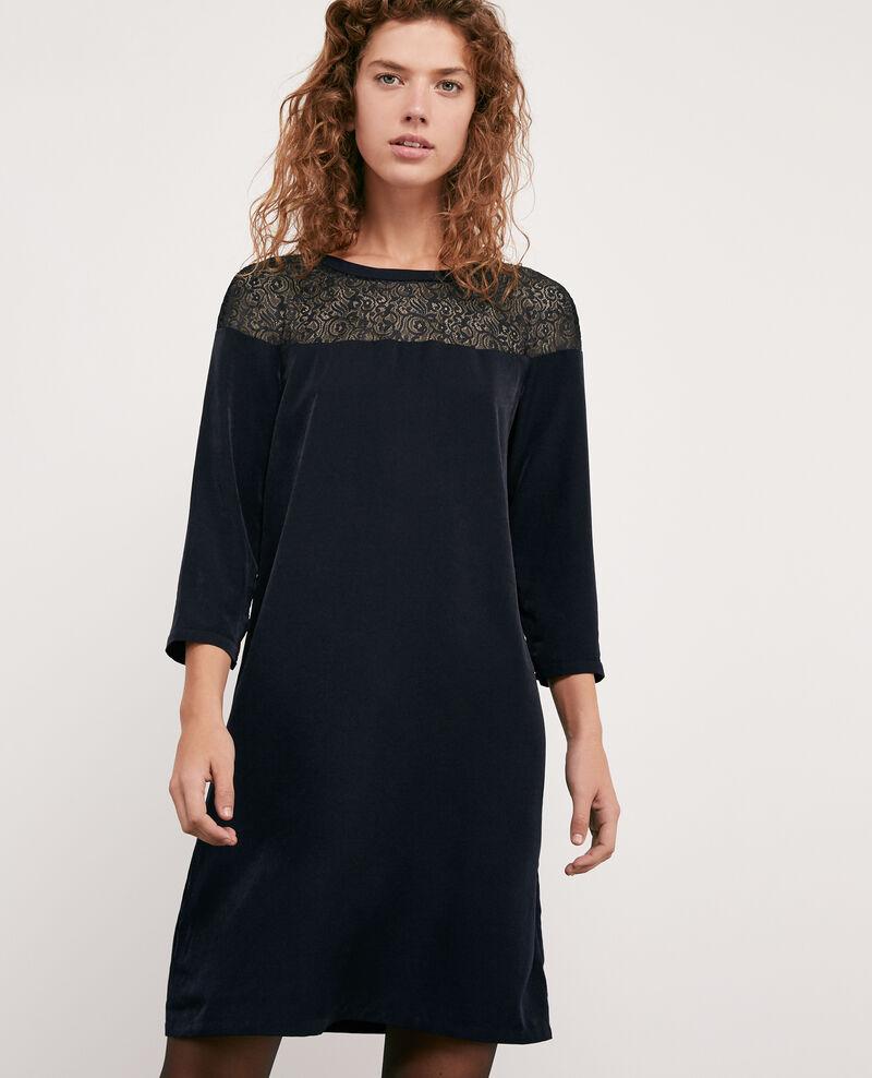 Kleid aus Satin und Spitze Navy Datillon