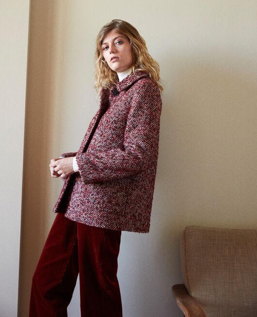 Tweed-Mantel RED MELANGE
