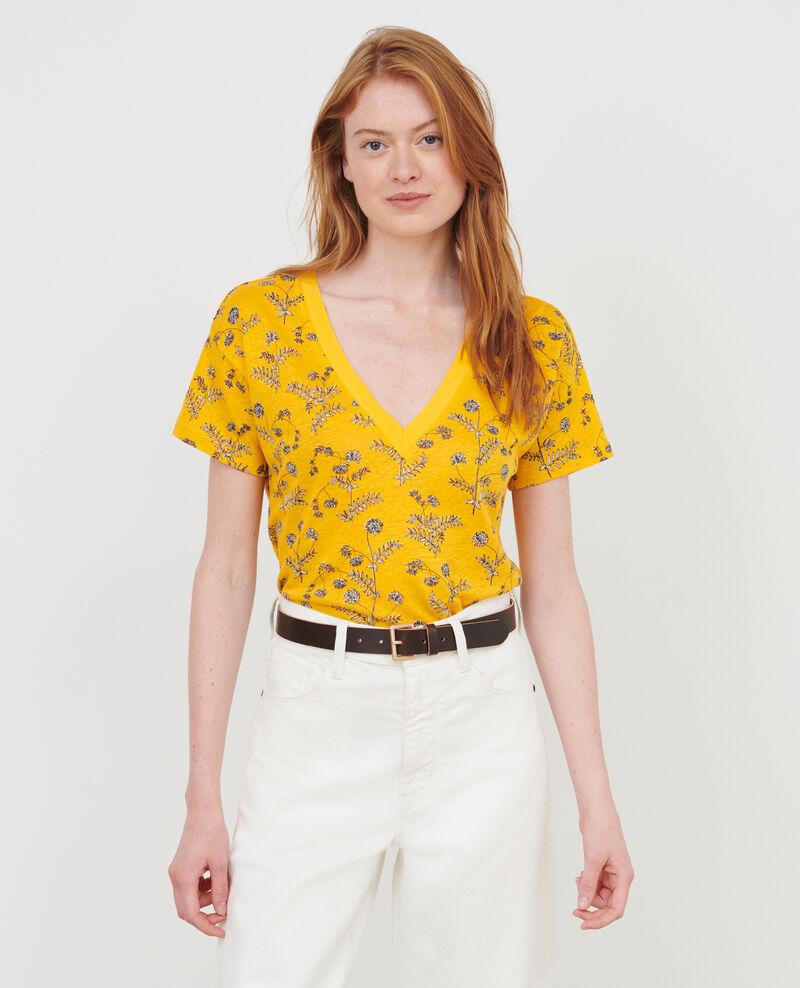 Shirt mit V-Ausschnitt aus Leinen Coronille gold Nayeli