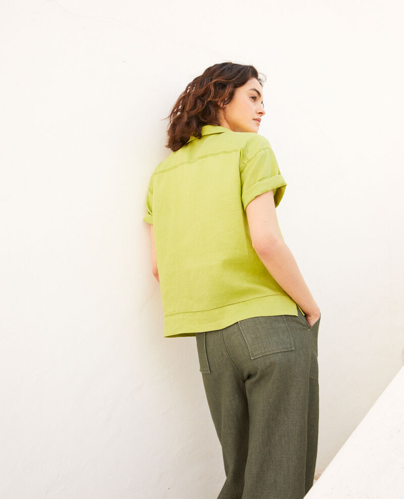 Bluse mit offenem Kragen aus Leinen Lime green Ilage