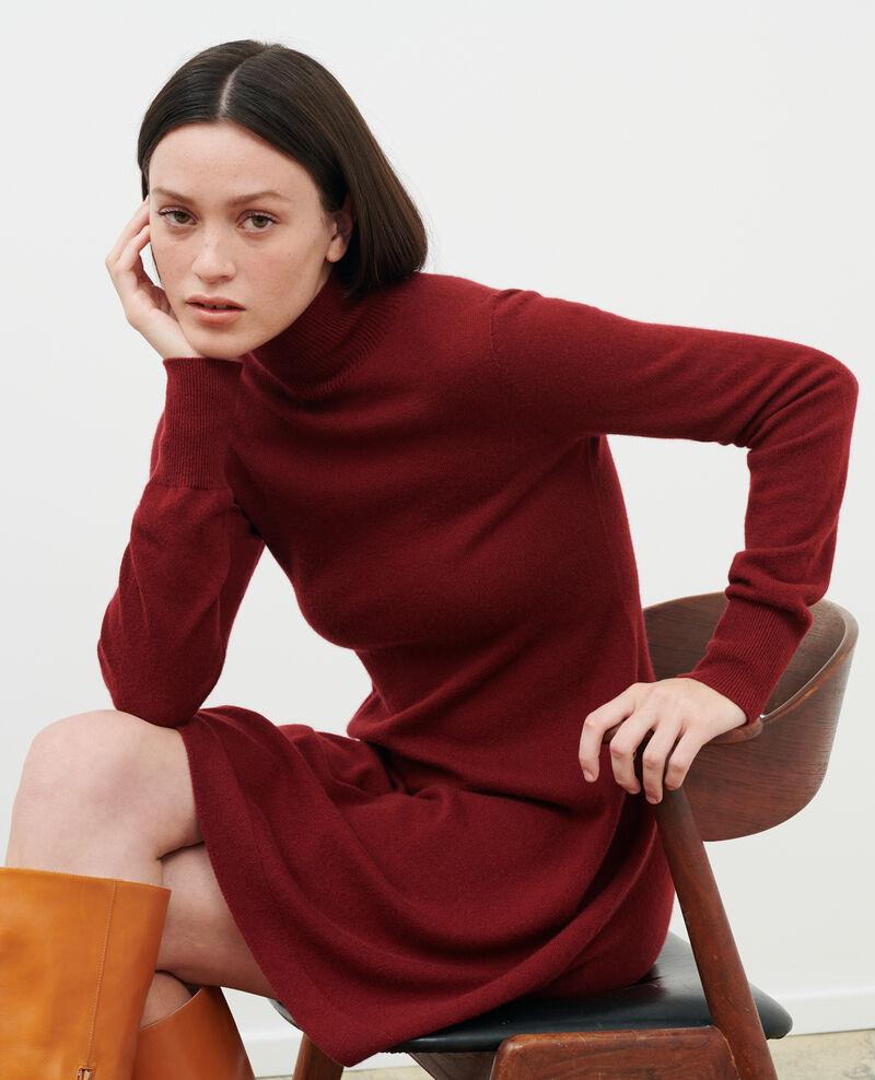 Kurzes Kleid aus 3D-Kaschmir Cabernet Paulnela
