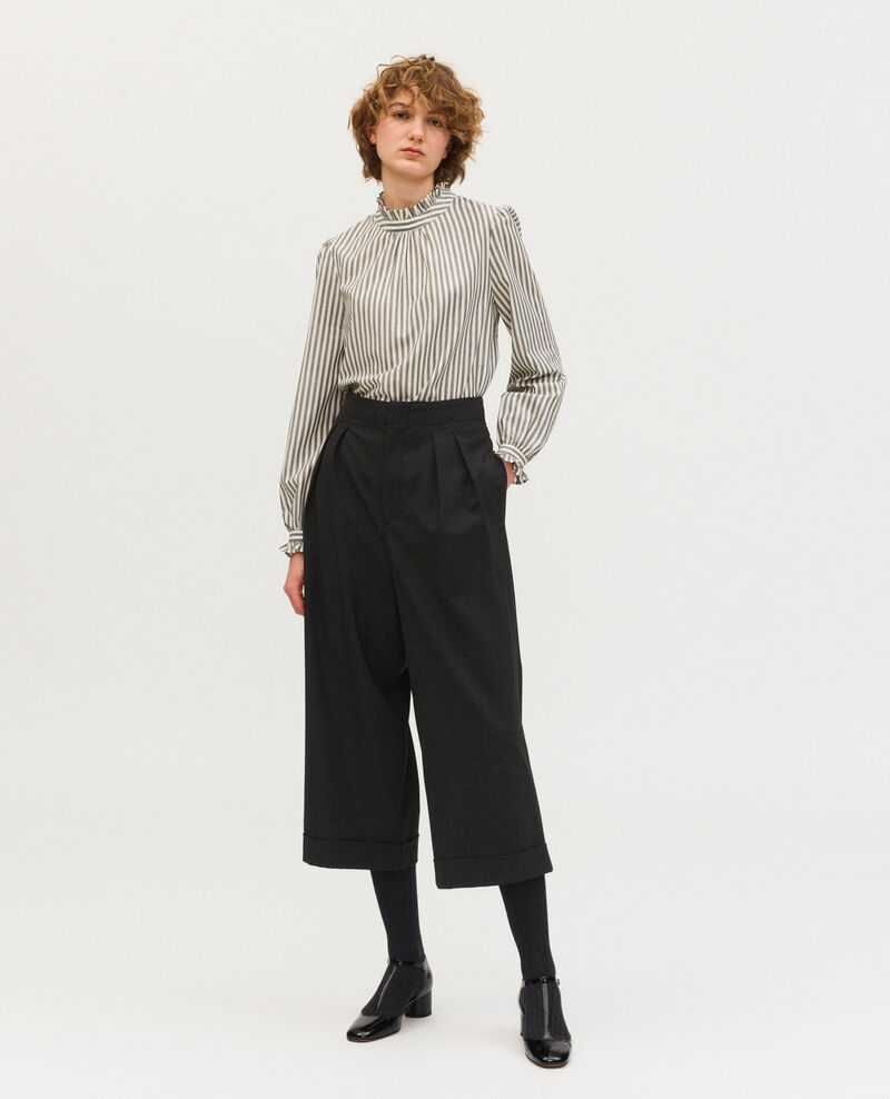 Hose YVONNE, weite, verkürzte Hose aus Prince of Wales-Wolle Check-wool-pattern-tailoring Mirboz
