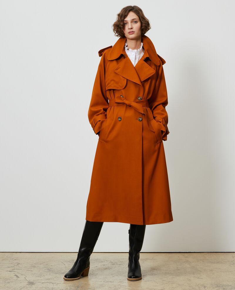 Langer fließender Trenchcoat aus Wolle Pumpkin spice Messimy