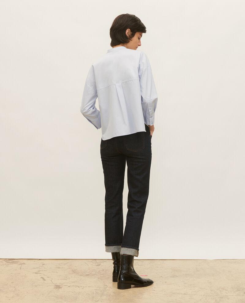 Bluse ohne Kragen aus Baumwoll-Popelin Heather Lyringas