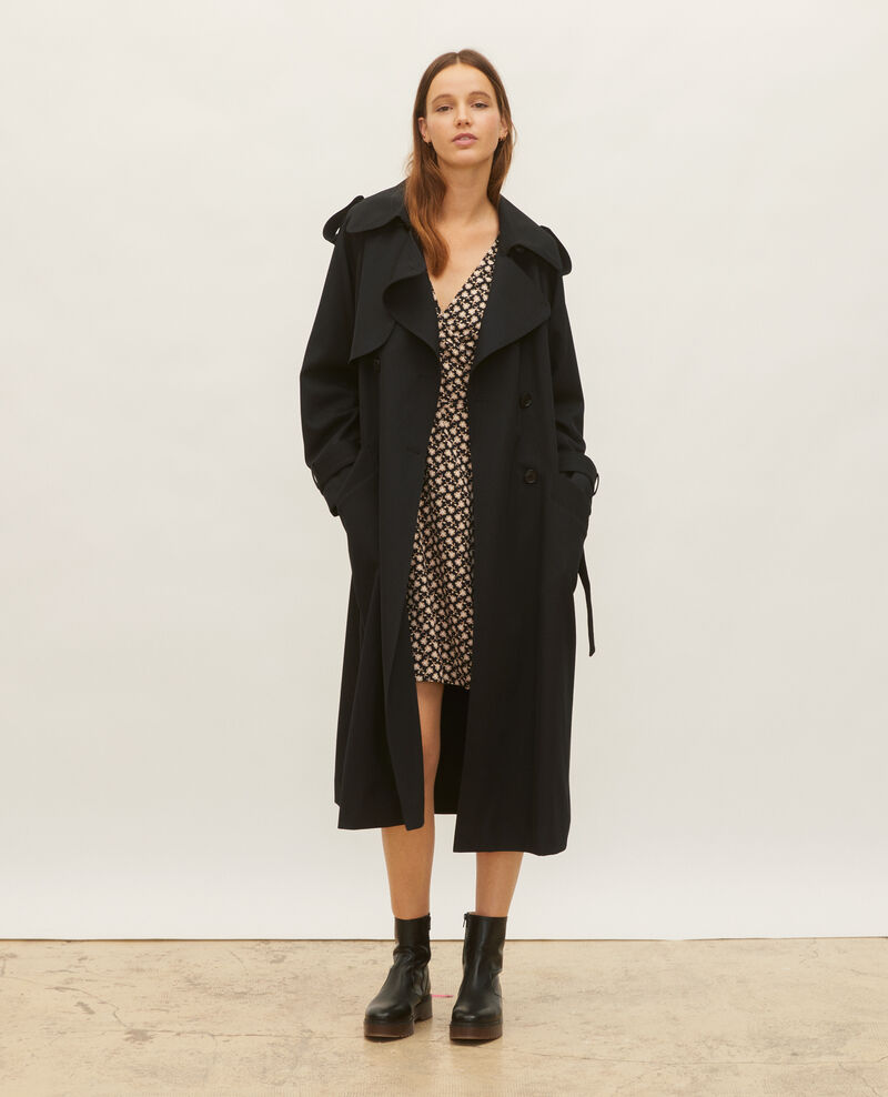 Oversize-Trenchcoat aus fließender Wolle Black beauty Laiko