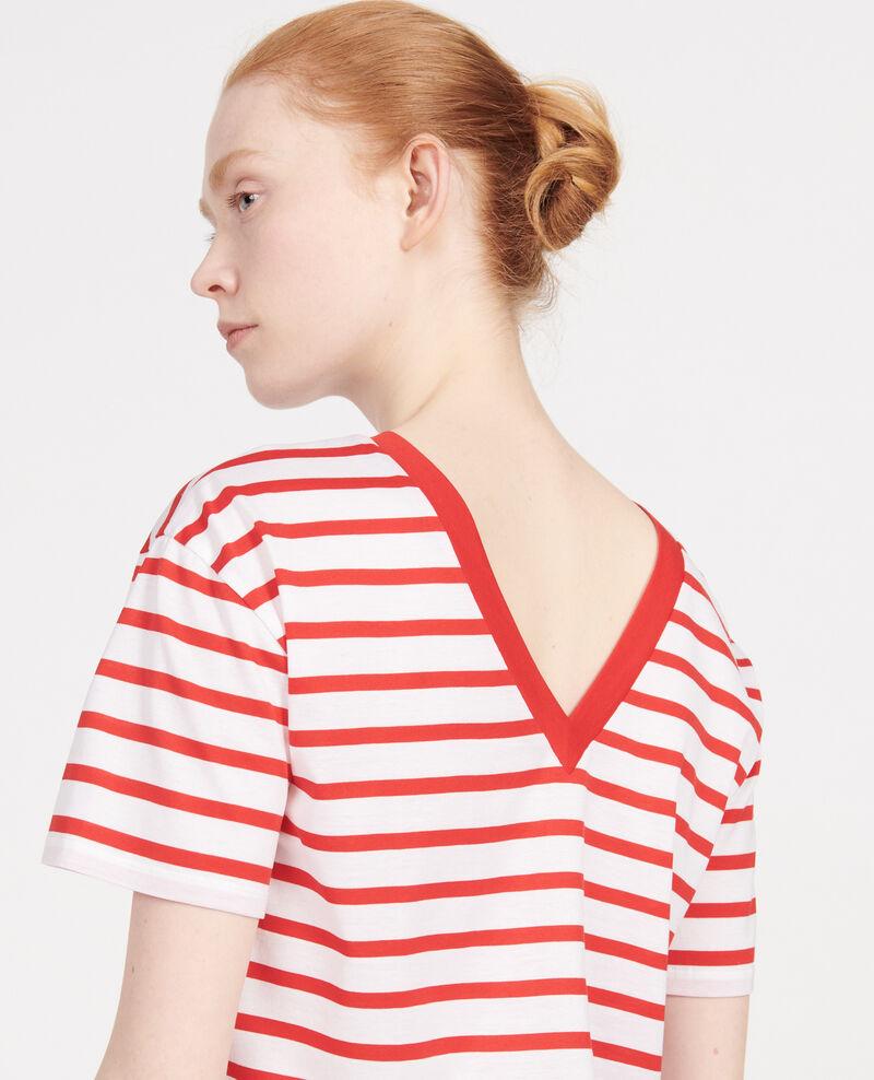 T-Shirt aus Baumwolle Stripes optical white fiery red Lisou