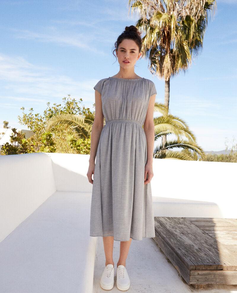 Halblanges Kleid Navy/white Idem