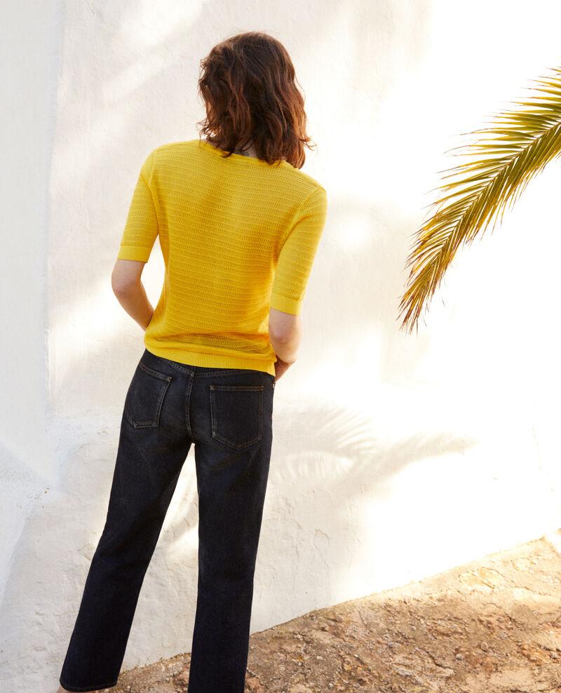 T-shirt en maille en coton et soie Spice yellow Ishirt