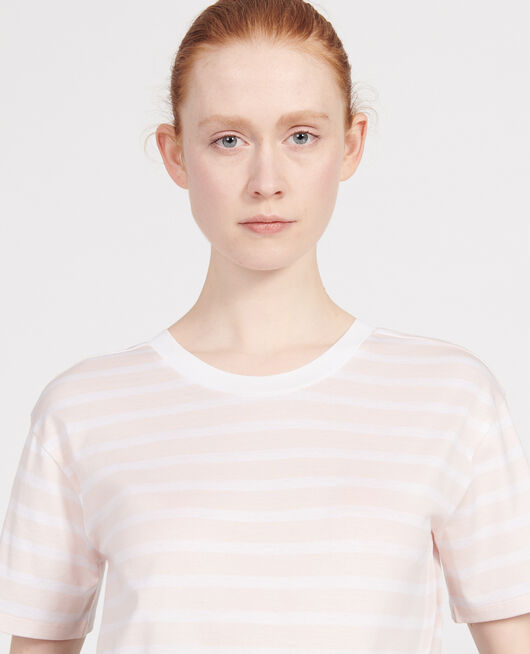T-Shirt aus ägyptischer Baumwolle STRIPES PRIMROSE PINK OPTICAL WHITE