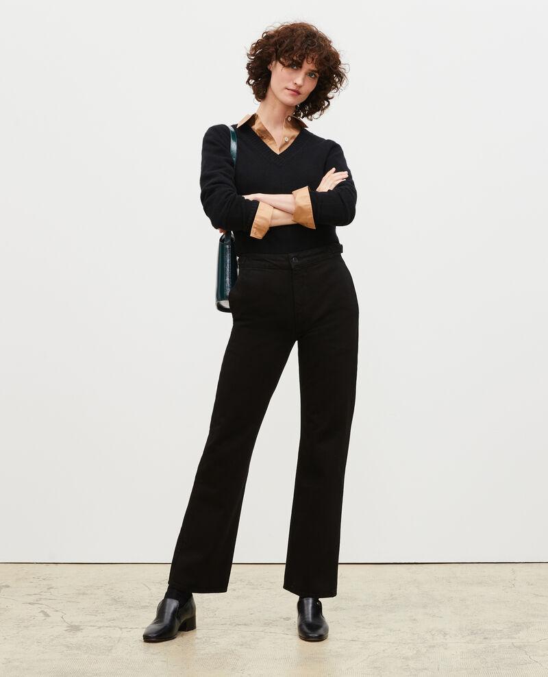 FLARE STRAIGHT - Enge Hose aus schwarzem Denim Noir denim Mespaul
