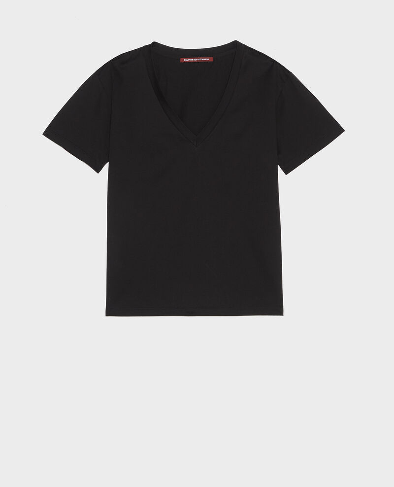 T-Shirt aus Baumwolle mit V-Ausschnitt Black beauty Laberne