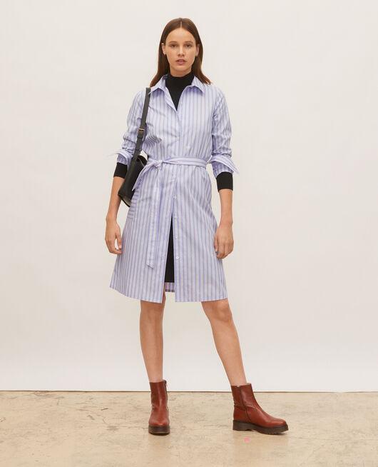 Hemdkleid aus Baumwolle mit Gürtel POPELINE STRIPES