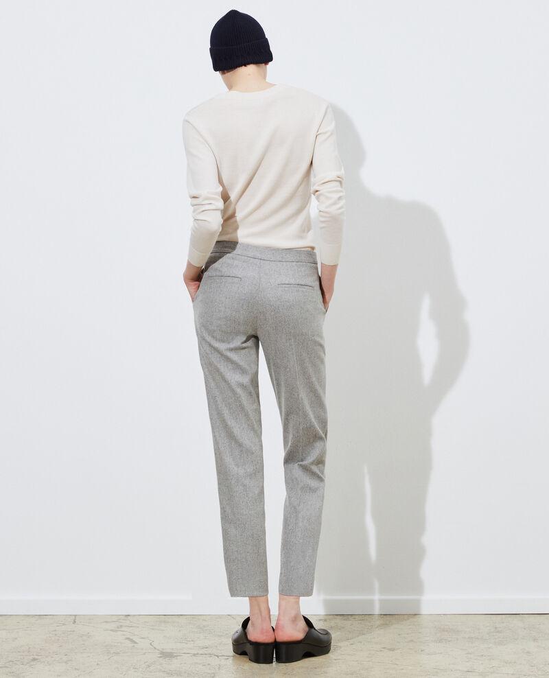 Hose MARGUERITE, unten eng zulaufende 7/8-Hose aus Wolle Light grey melange Mokyo