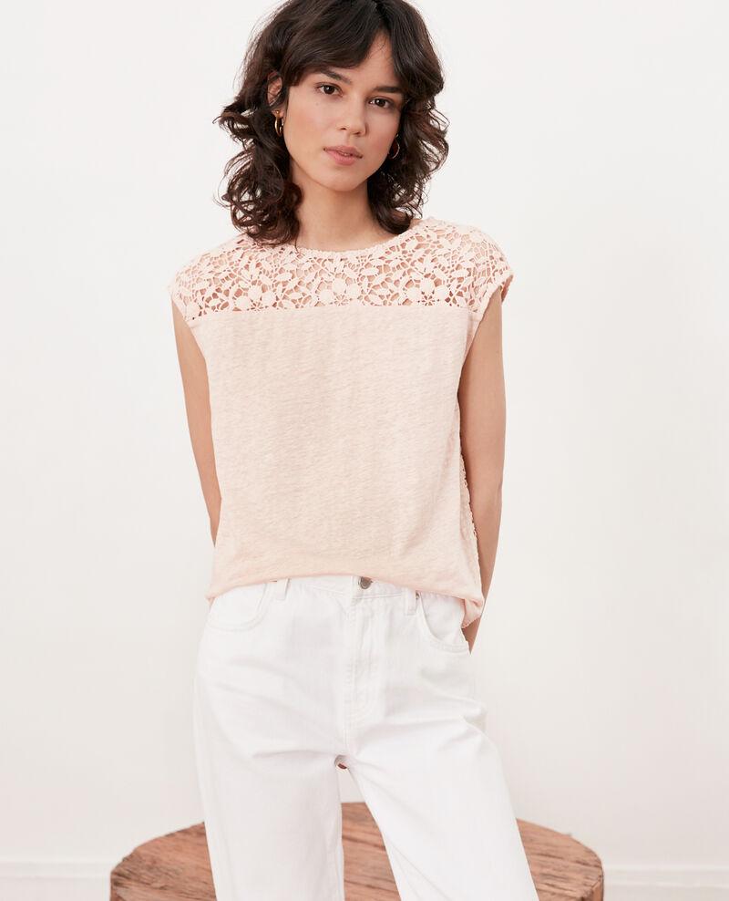 Leinen-T-Shirt mit Spitzenrücken Nude Furbigo