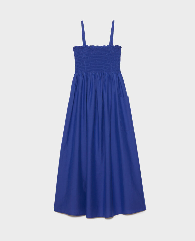 Langes Kleid aus Baumwolle und Seide Royal blue Nassandrou