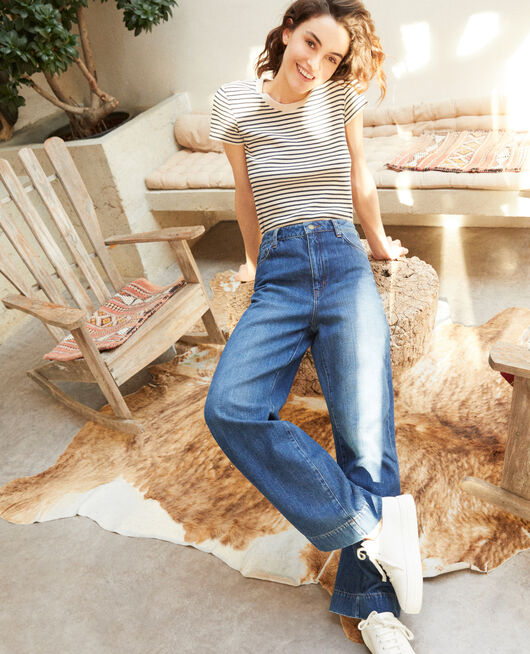Wide Full Lenght-Jeans Blau