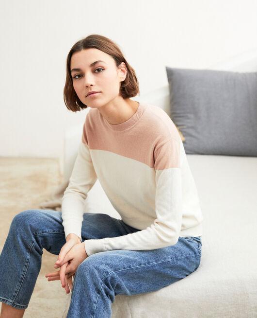 Zweifarbiger Pullover PINK BEIGE