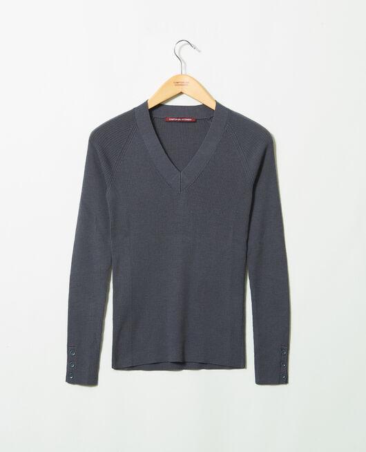 Pullover mit V-Ausschnitt 100% Merinowolle ODYSSEY GRAY