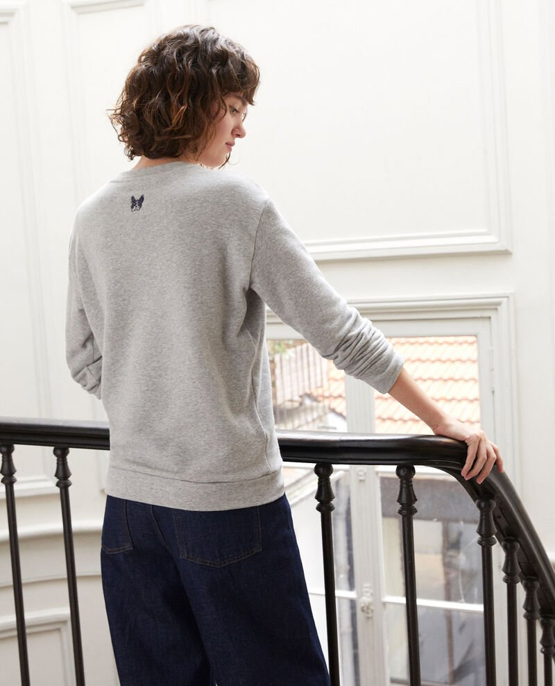 Sweatshirt mit Leon-Stickerei Grau Gleon
