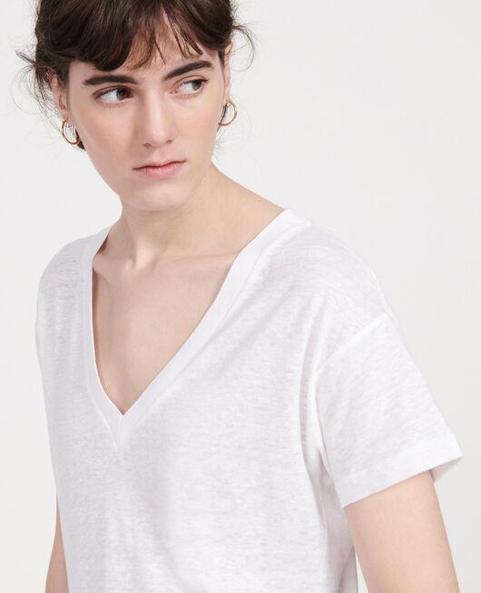 T-Shirt aus Leinen OPTICAL WHITE