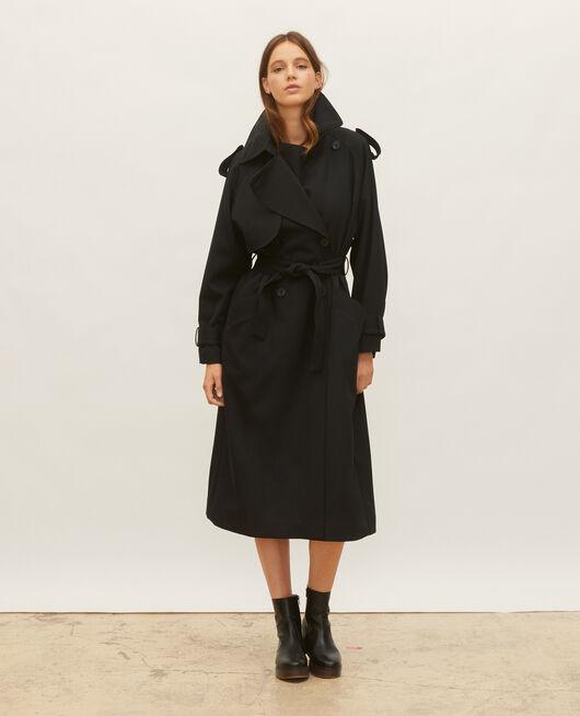 Oversize-Trenchcoat aus fließender Wolle BLACK BEAUTY