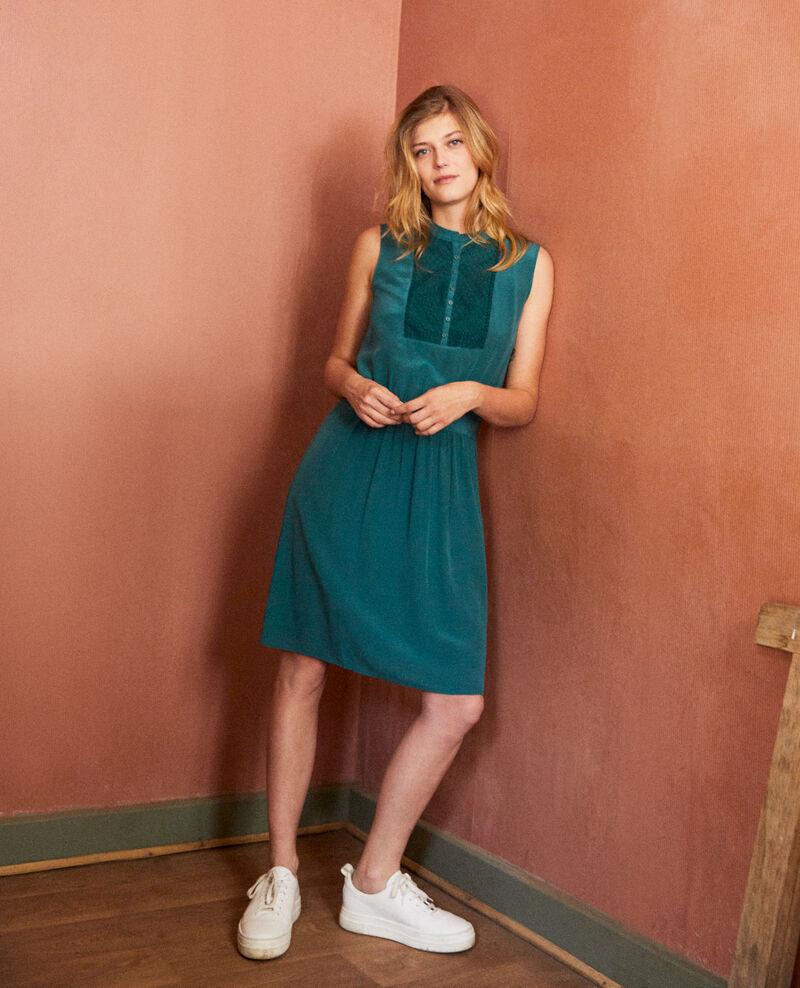 Kleid mit Spitzenplastron aus Seide Mediteranea Jelegrino
