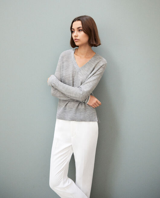 Pullover aus Wolle LIGHT GREY