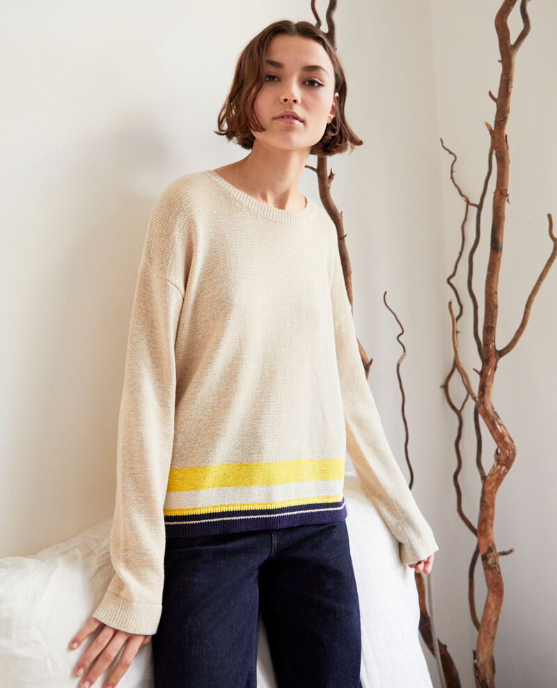 Pullover mit Rundhalsausschnitt mit Leinen Natural beige Iraye