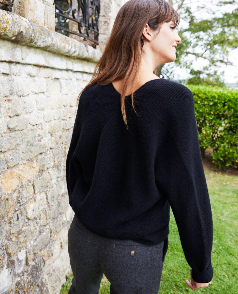 Pullover mit V-Ausschnitt aus 100 % Kaschmir Noir Jonka