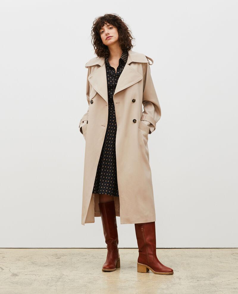 Oversize-Trenchcoat aus fließender Wolle Oxford tan Laiko