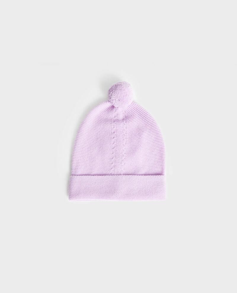 Mütze aus Kaschmir mit Bommel Pastel lilac Mimizan