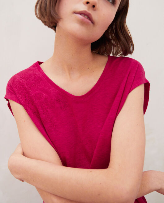 Leinen-T-Shirt, bestickt FUSHIA
