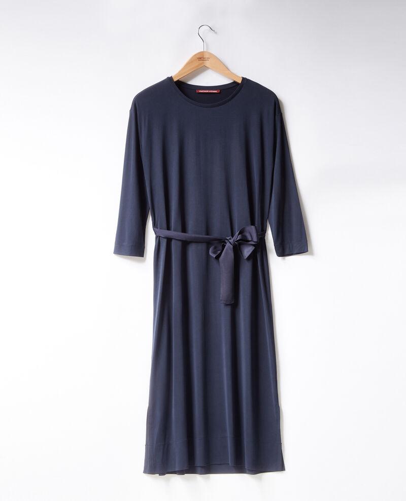 Fließendes Kleid mit Gürtel Navy Fea