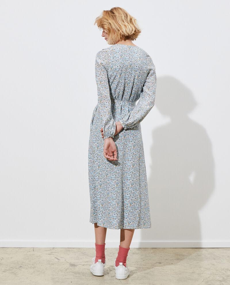 Langes Seidenkleid Art deco blue Pavisha