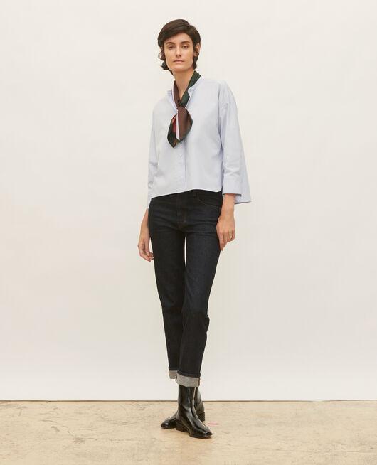 Bluse ohne Kragen aus Baumwoll-Popelin HEATHER